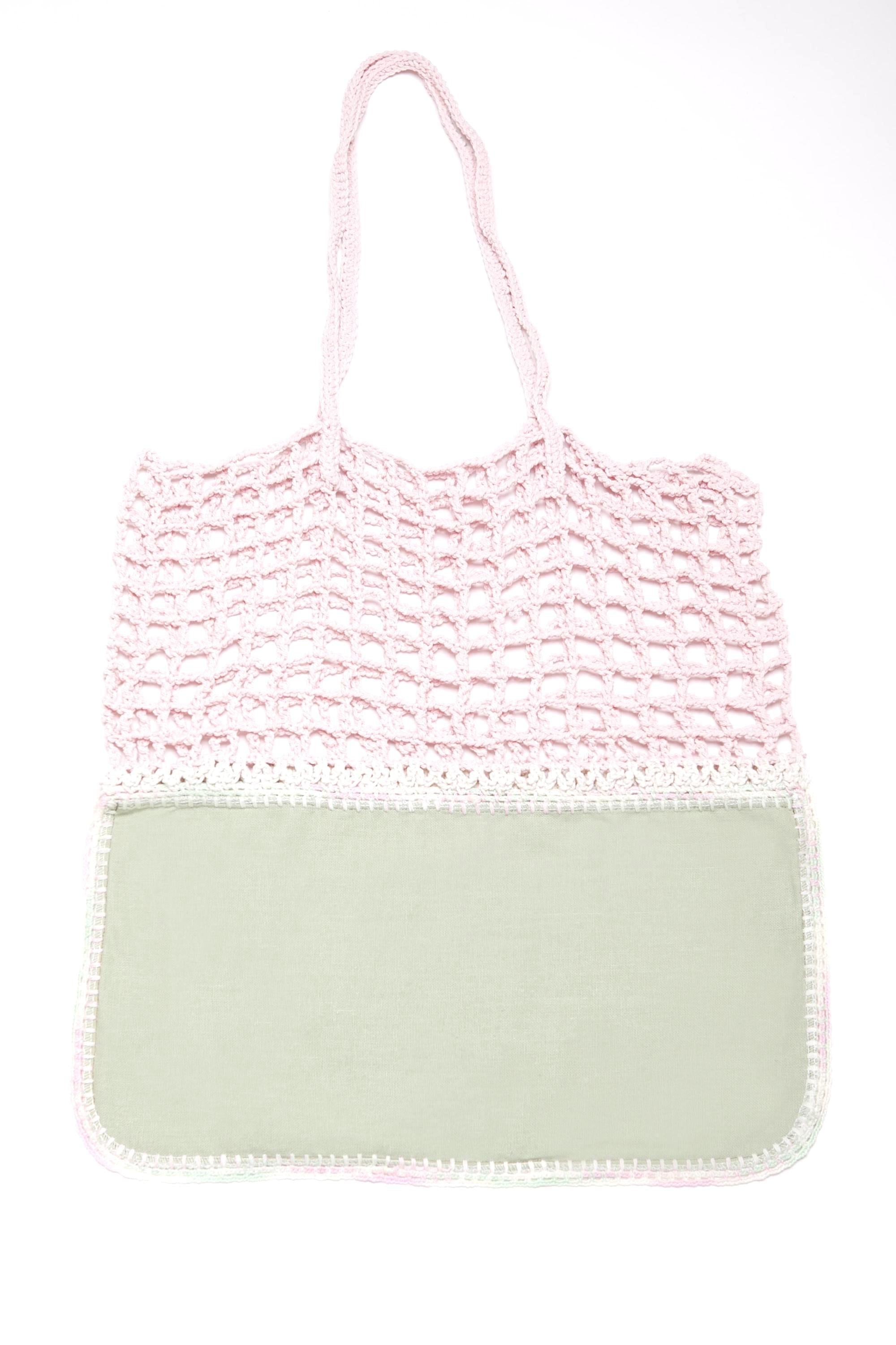 Gradie Pink and Avocado Crochet and Neoprene Bag-Merrymetric Bags-Temples and Markets