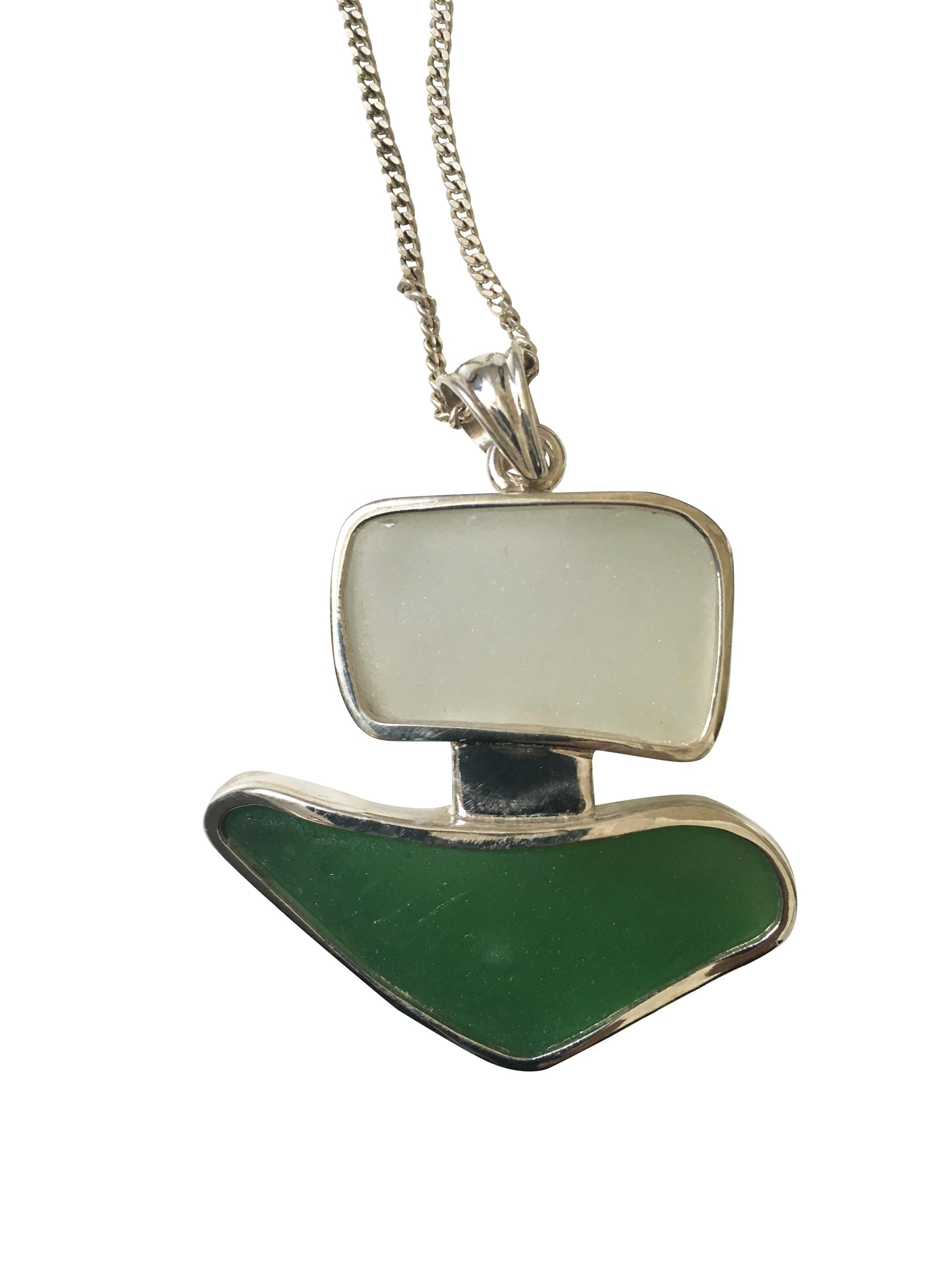 Green and White Glass Double Pendant mounted on Sterling Silver-Future Traditions-Temples and Markets