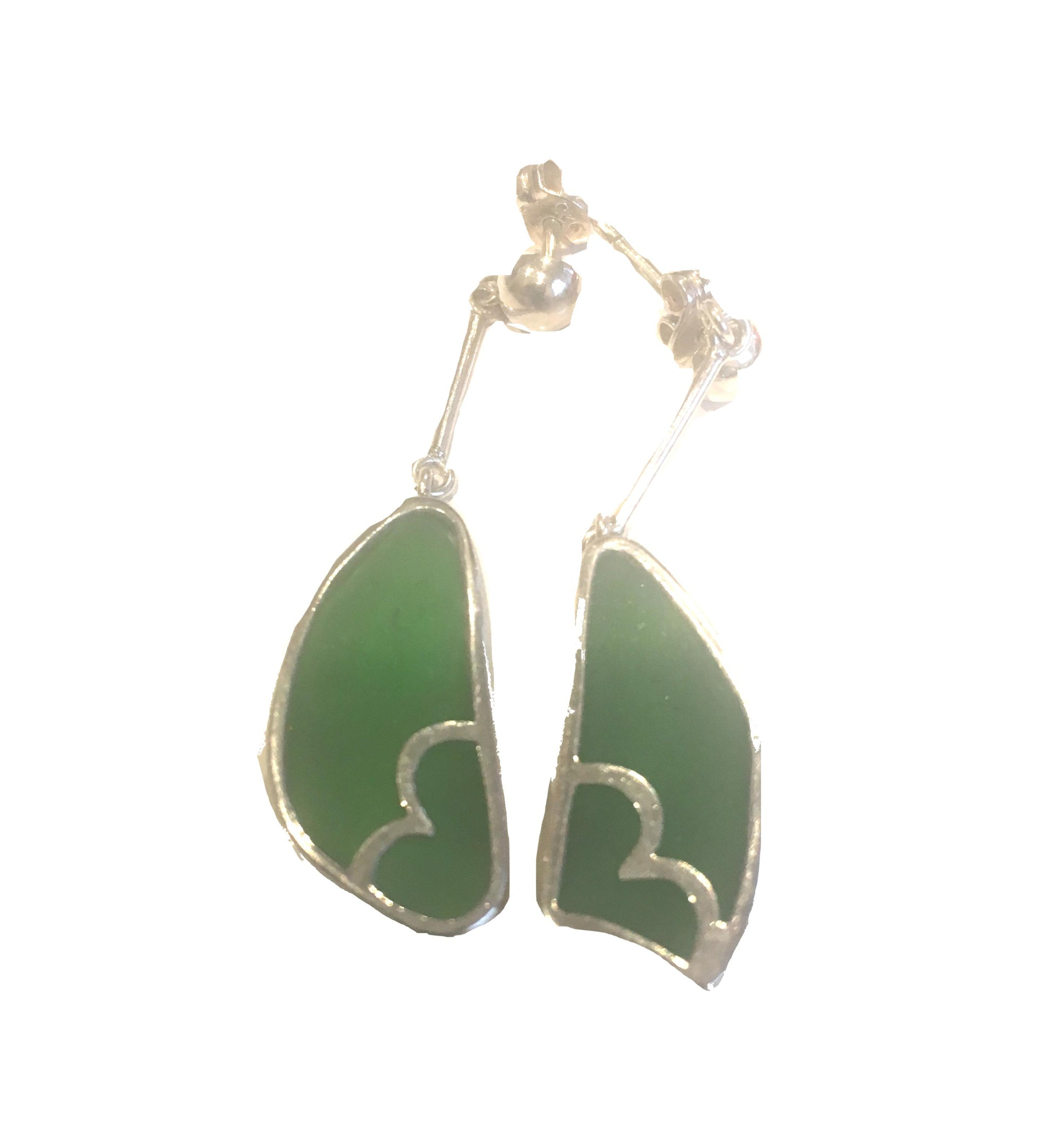 Green Glass Sterling Silver Long Drop Earrings