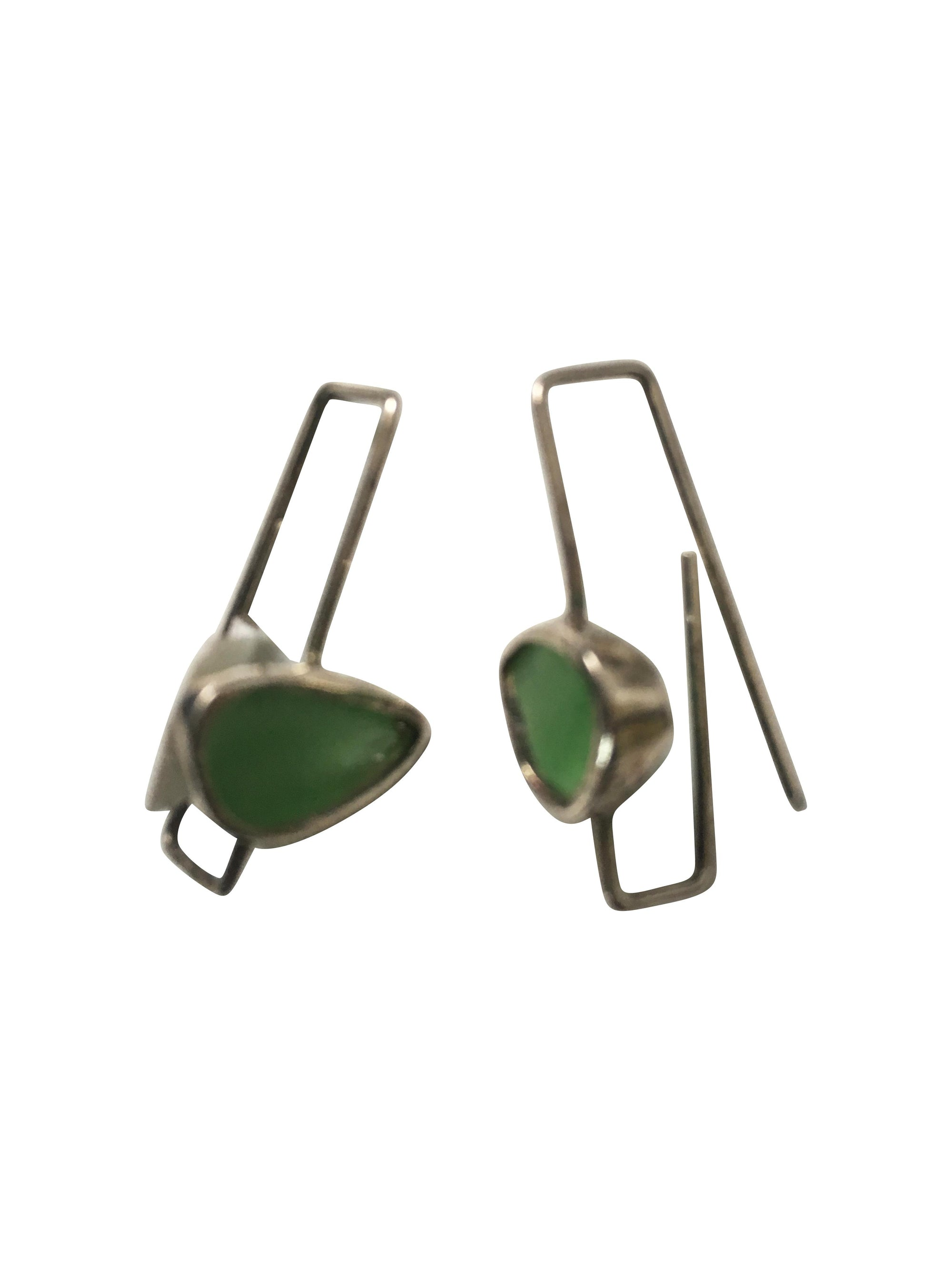 Green Glass Sterling Silver Paper Clip style Earrings