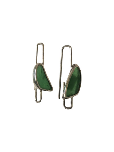 Green Glass Sterling Silver Paper Clip style Long Drop Earrings-Future Traditions-Temples and Markets