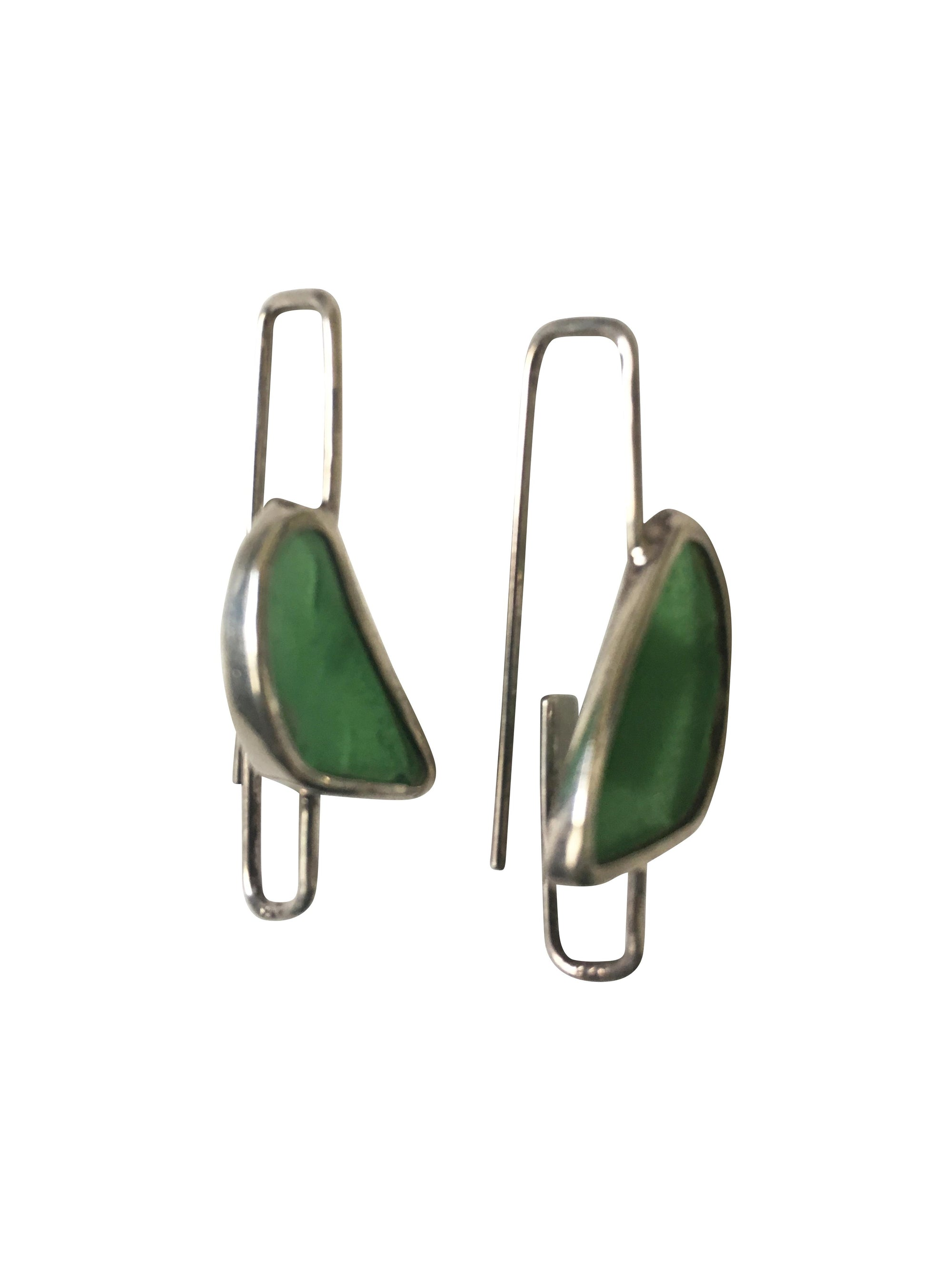 Green Glass Sterling Silver Paper Clip style Long Drop Earrings