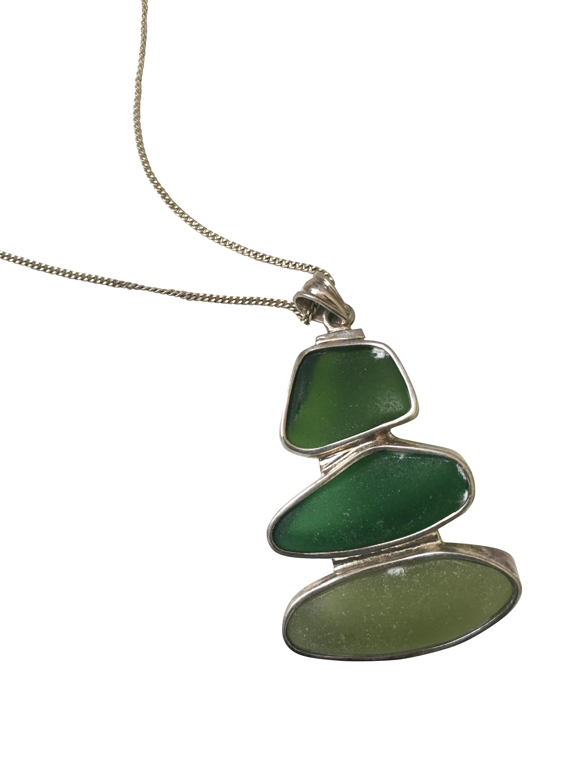 Green Glass Triple Pendant mounted on Sterling Silver