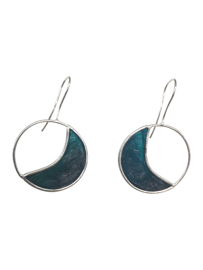 Green Half Moon in Circle Shaped Scoby Leather Sterling Silver Earrings-Cay Cay Design-Temples and Markets