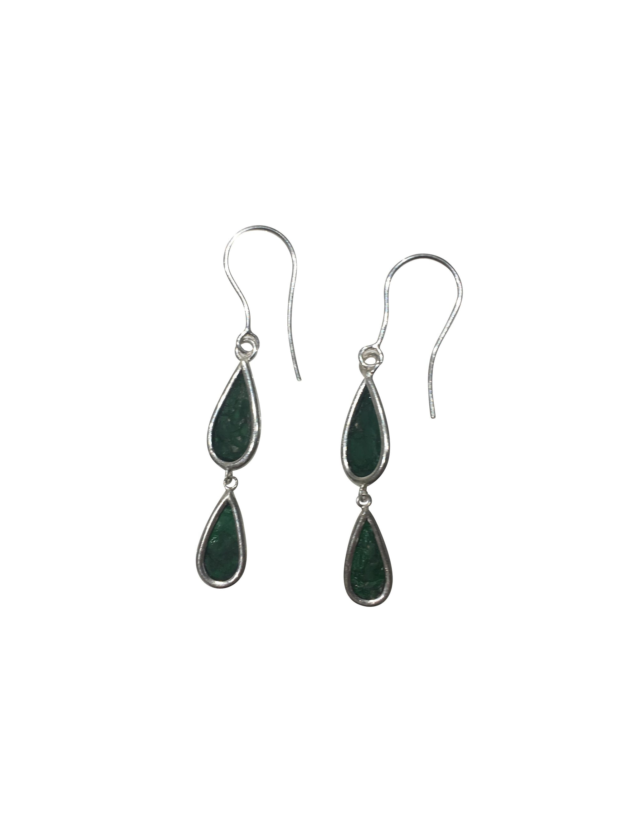 Green Scoby Leather Double Tear Drop Sterling Silver Earrings