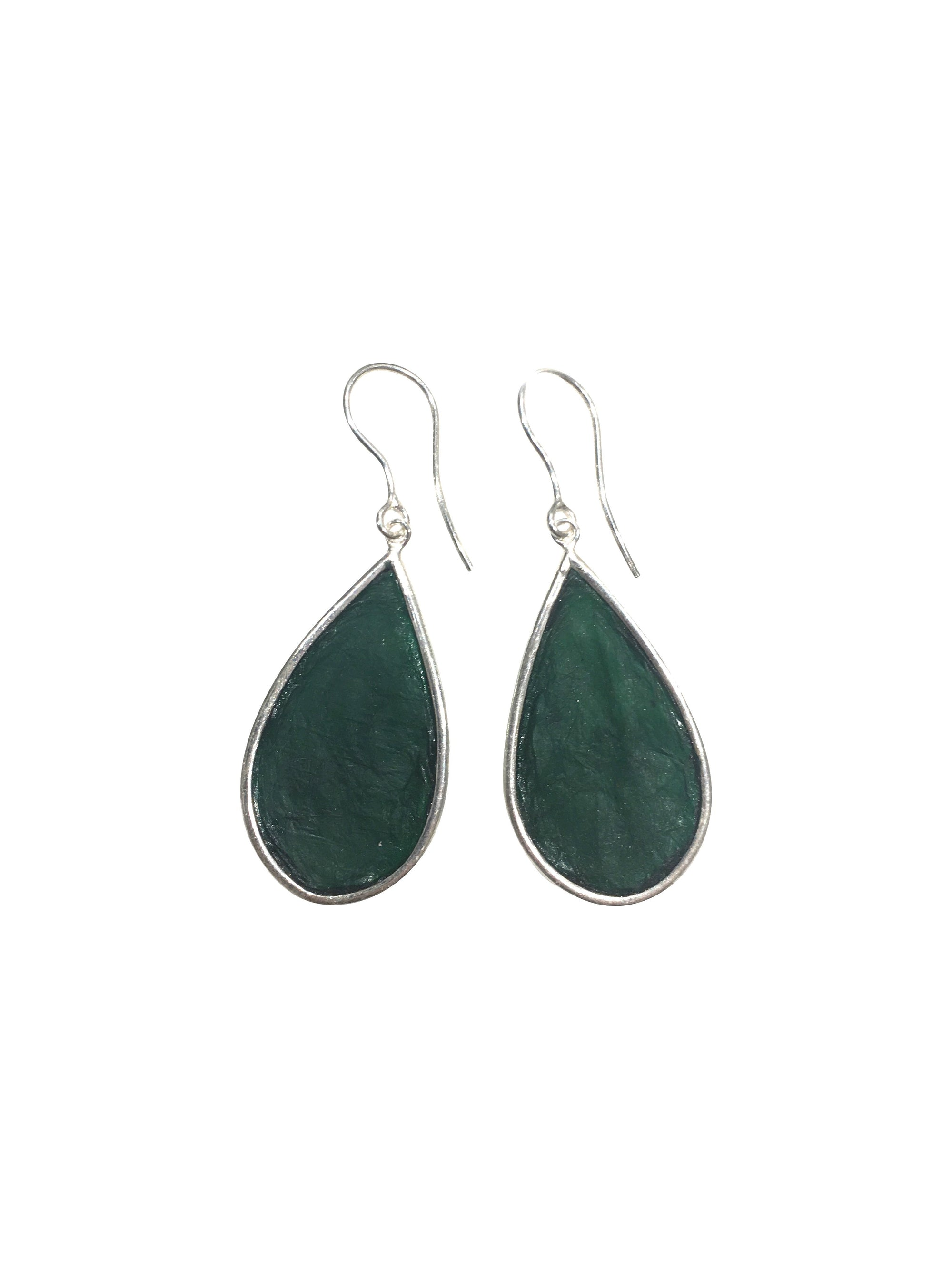 Green Teardrop Scoby Leather Sterling Silver Hook Earrings