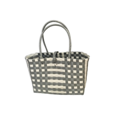 Grey and White Handwoven Basket Bag-Helping Hands Penan-Temples and Markets