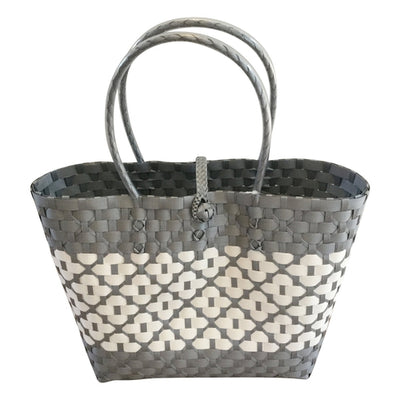 Grey and White Handwoven Basket Bag with floral and stripe design - choose your size or buy the set-Helping Hands Penan-Temples and Markets