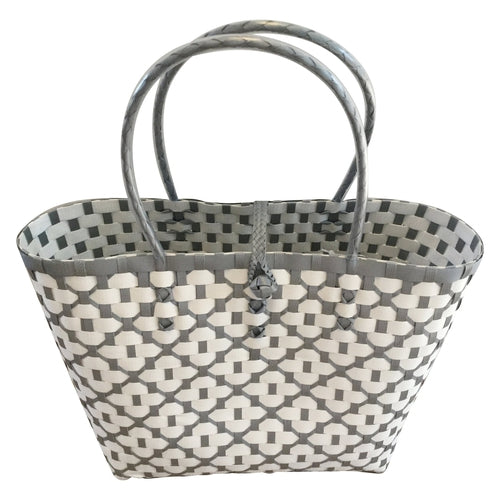 Grey and White Handwoven Basket Tote Bag - choose your size or buy the set-Helping Hands Penan-Temples and Markets