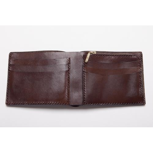 Handmade Dark Brown Leather Wallet with Zip Up Coin Pocket