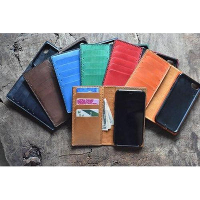 Handmade Leather iPhone Flip Case - choose IP7, IP8, IPX and choose from red or green-Lotussilk Leather Accessories-Temples and Markets