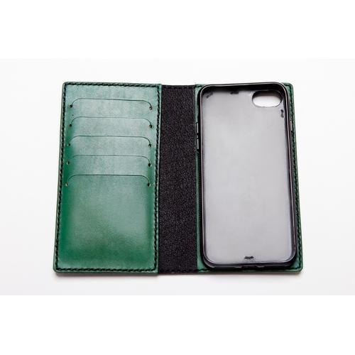 Handmade Leather iPhone Flip Case - choose IP7, IP8, IPX and choose from red or green