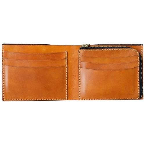 Handmade Leather Wallet with Zip Up Coin Pocket - Choose Tan or Black