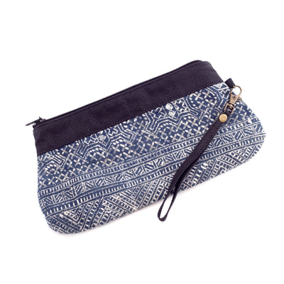 Handwoven Batik and Blue Leather Clutch Bag with Handle-Future Traditions-Temples and Markets