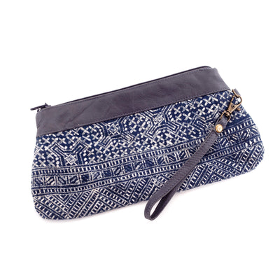 Handwoven Batik and Grey Leather Clutch Bag with Handle-Future Traditions-Temples and Markets