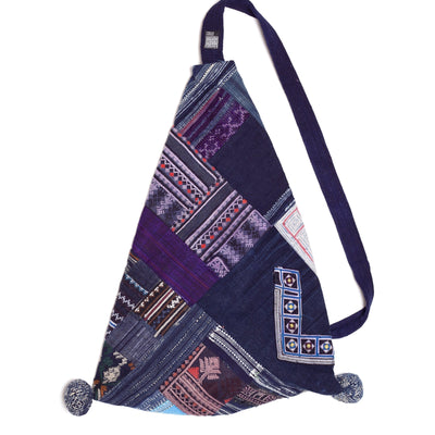 Handwoven Blue, Purple and White Slouch Bag made from Vintage Textiles-Future Traditions-Temples and Markets