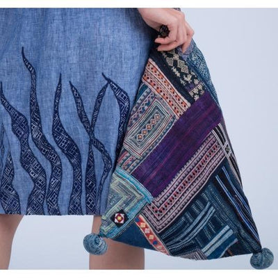 Handwoven Blue White and Orange Slouch Bag made from Vintage Textiles-Future Traditions-Temples and Markets