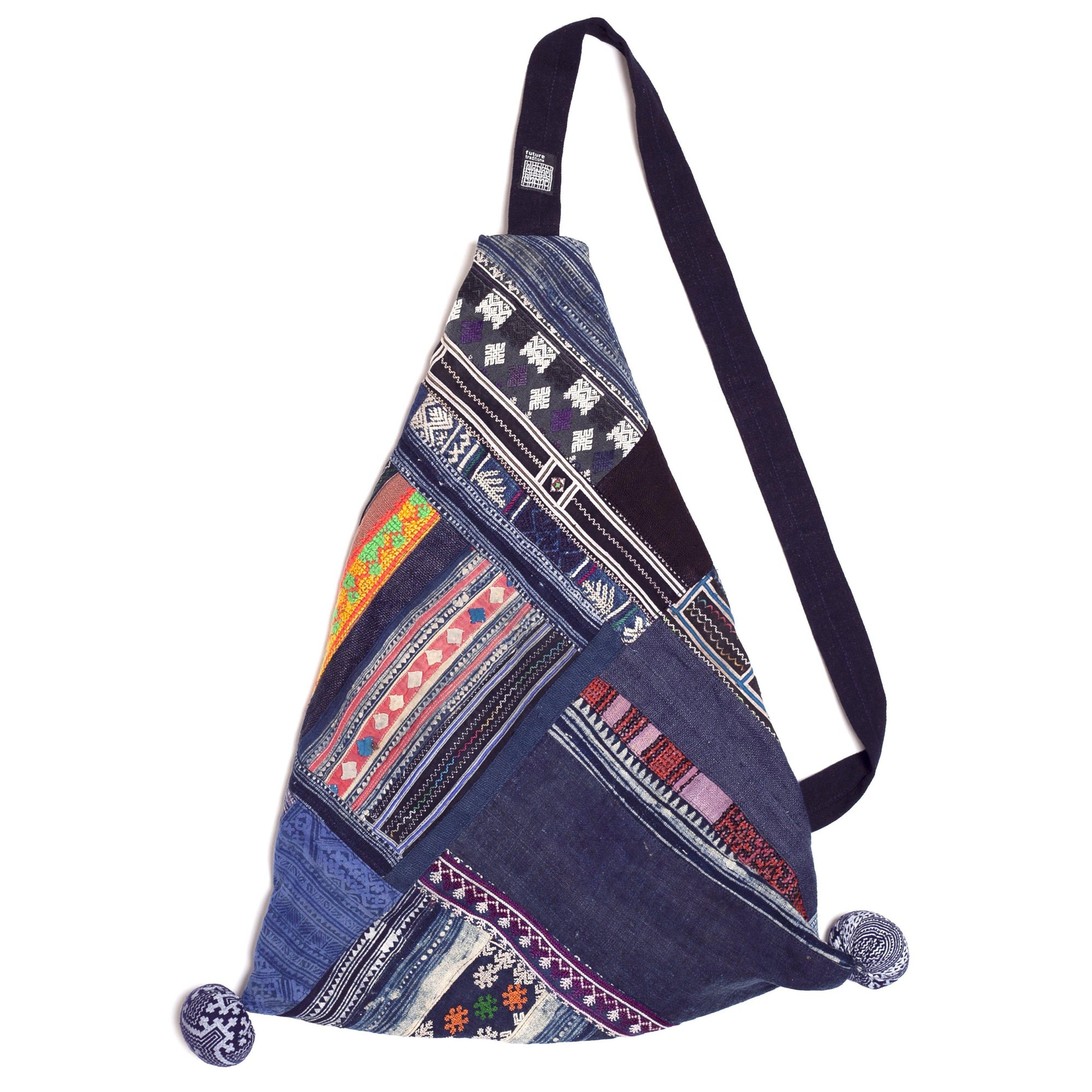 Handwoven Blue White and Orange Slouch Bag made from Vintage Textiles