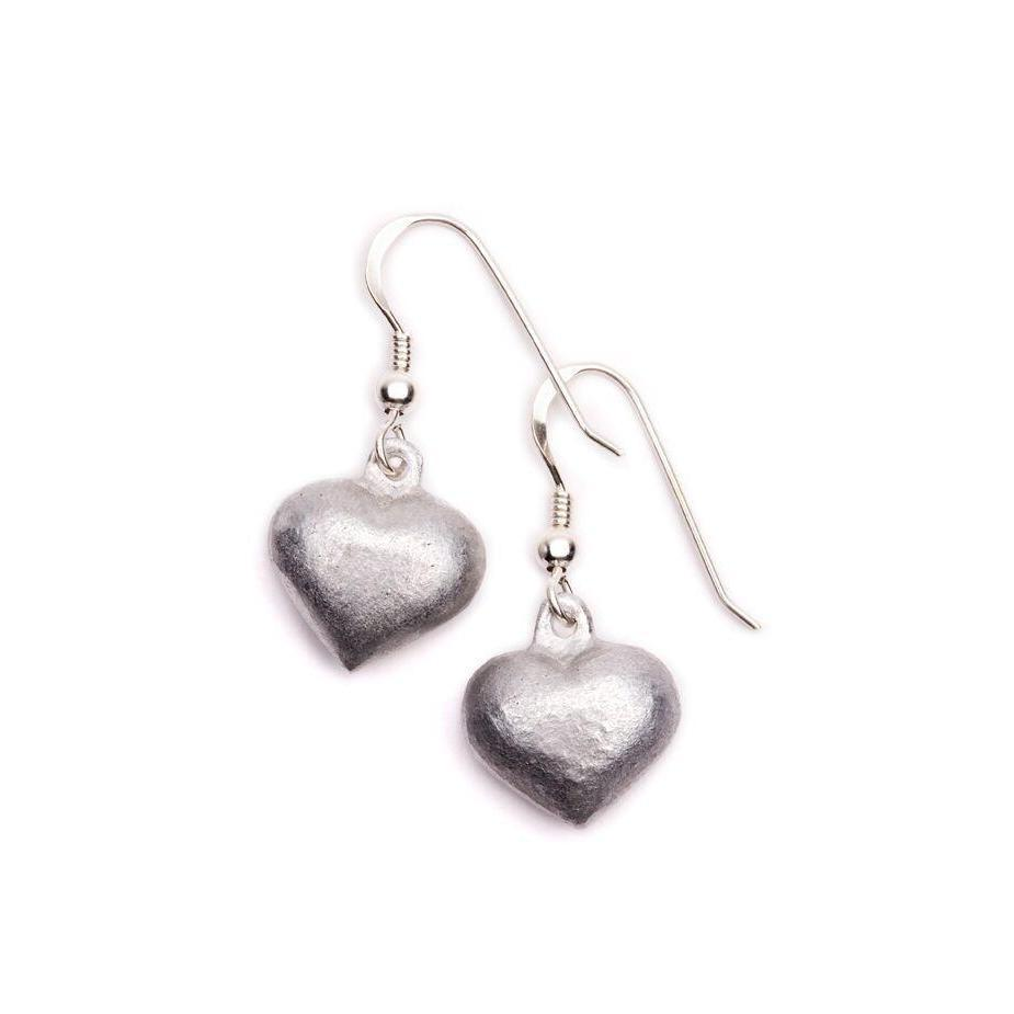 Heart Shaped Drop Earrings on Sterling Silver Hooks-LOVEbomb-Temples and Markets