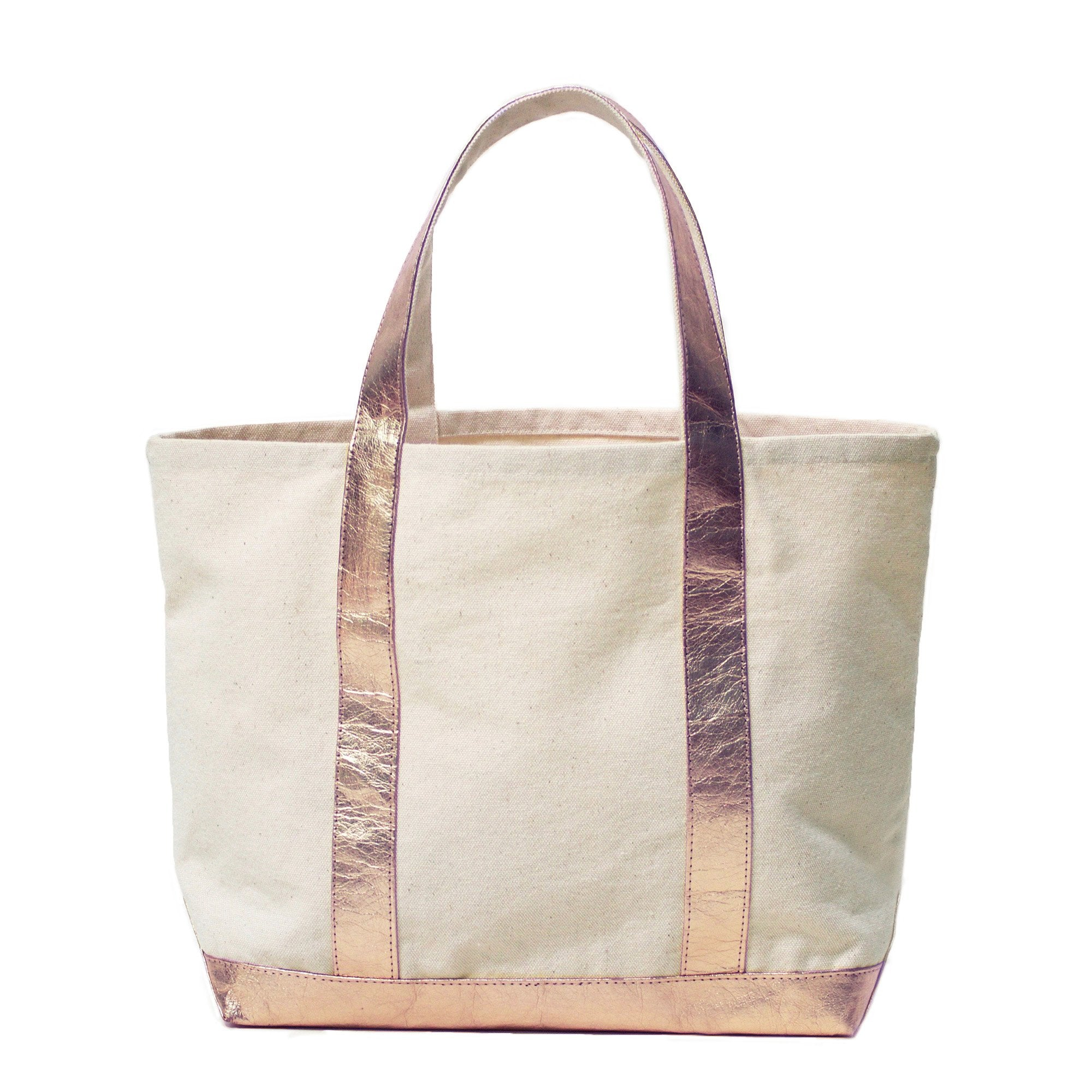 Hestia Rose Gold and Natural Canvas and Washable Paper Tote Bag