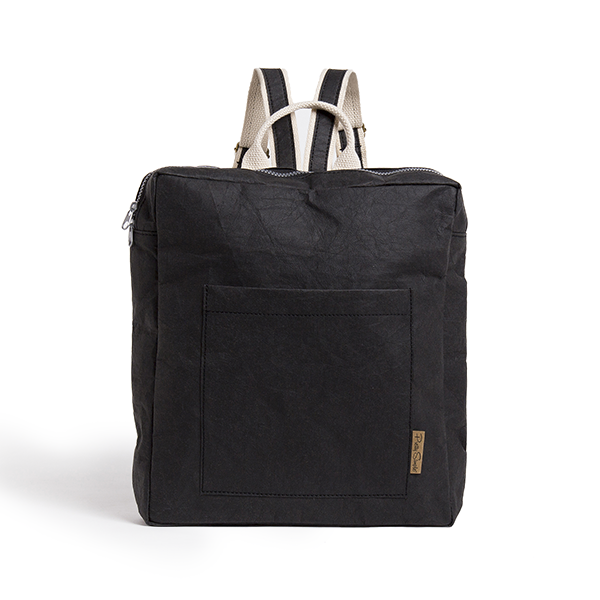 Hoi An Black Backpack made from Washable Paper, an eco-friendly alternative to leather