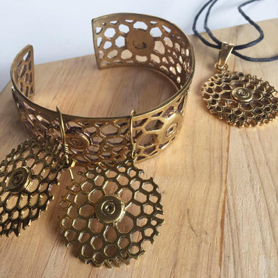 Honeycomb Brass Bangle-Angkor Bullet Jewellery Cambodia-Temples and Markets