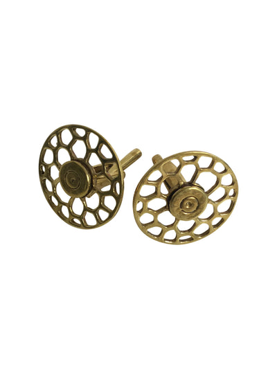 Honeycomb Cut Out Brass Cufflinks-Angkor Bullet Jewellery Cambodia-Temples and Markets