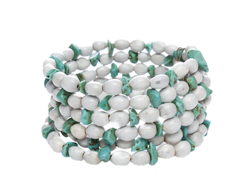 Iron and Seed Multi Wrap Bracelet with Turquoise stone-Graines de Cambodge-Temples and Markets