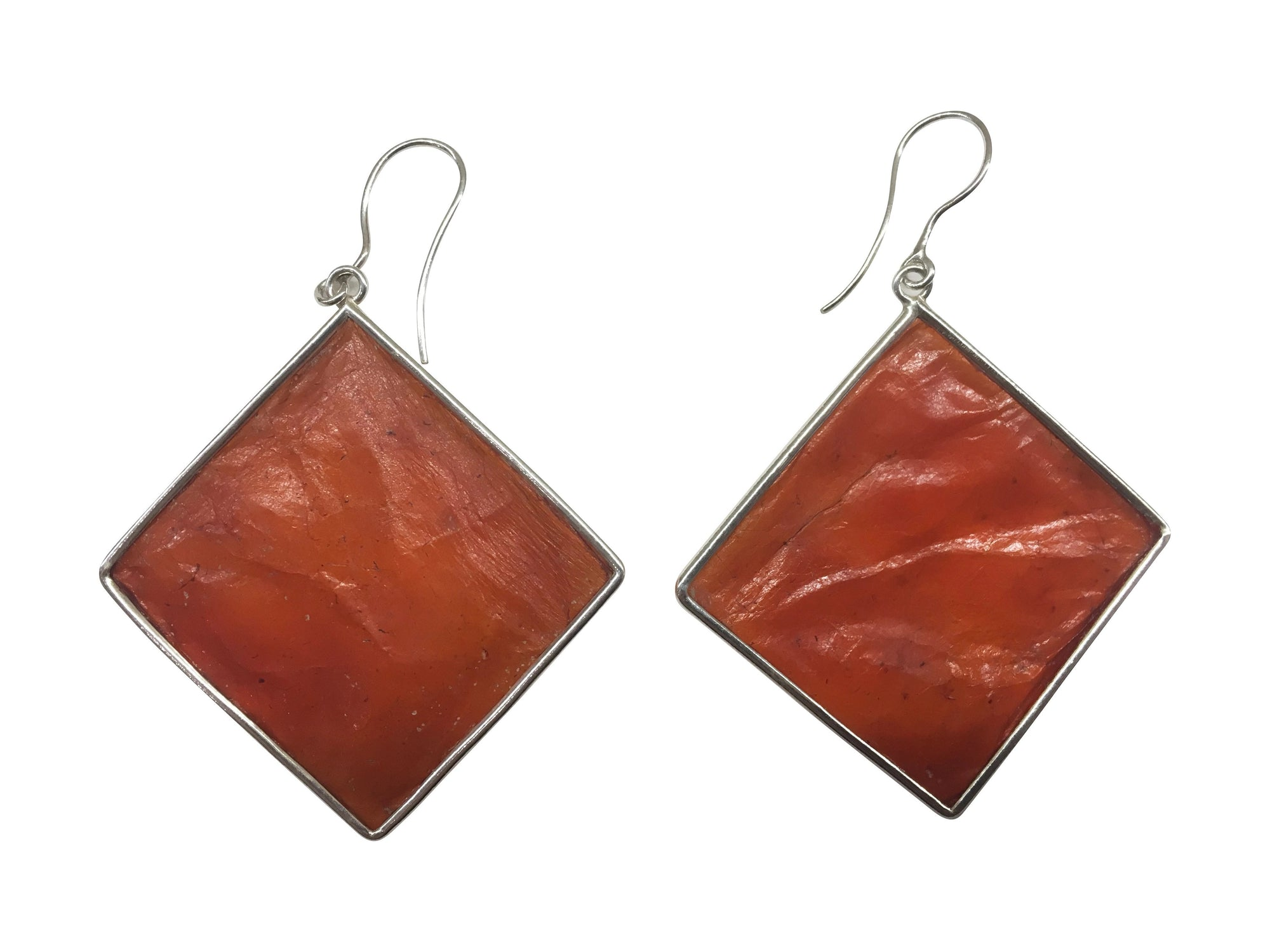 Large Orange Diamond Shaped Scoby Leather Sterling Silver Earrings