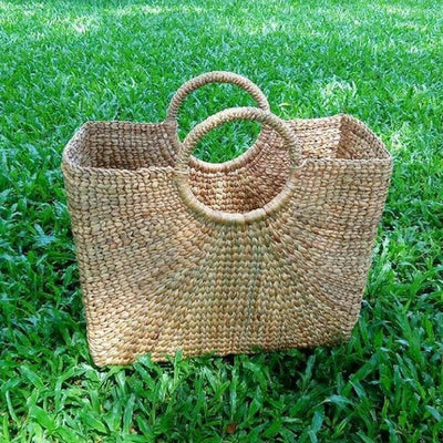 Large Square Shaped Straw Basket Bag with round handles-Bags-Bluestone-Medium-Temples and Markets