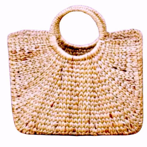 Large Square Shaped Straw Basket Bag with round handles
