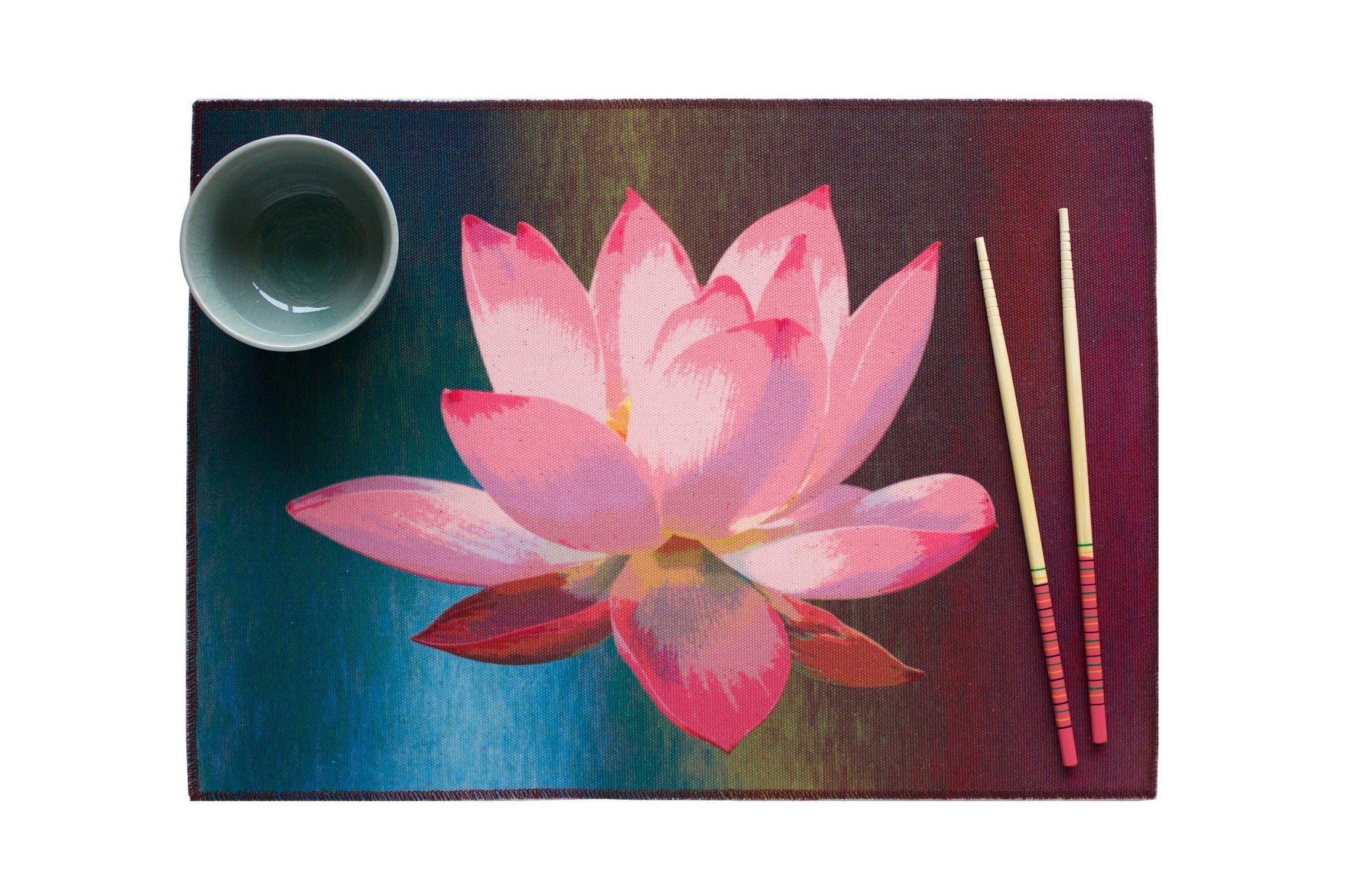 Lotus de Luxe Water Resistant Placemats - Set of 4-CUSHnART-Temples and Markets
