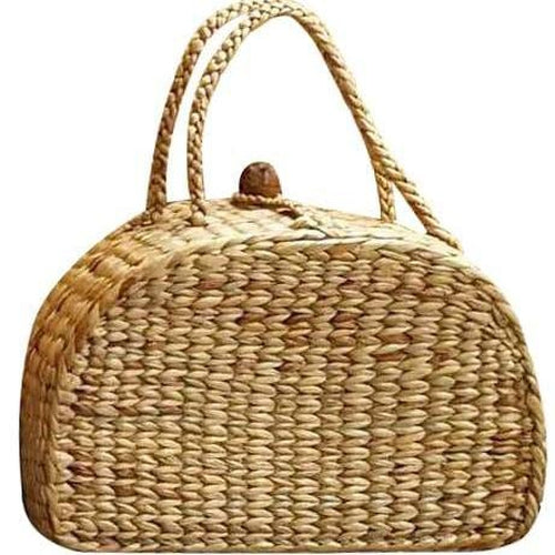 Macha Vanity Shaped Straw Basket Handbag-Bluestone-Temples and Markets