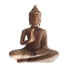 Mango Wood Seated Buddha in Protection Mudra-WA Gallery-Temples and Markets