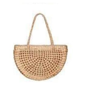 Mayom Handwoven Straw Half-Moon shaped Shoulder Bag-Bluestone-Temples and Markets