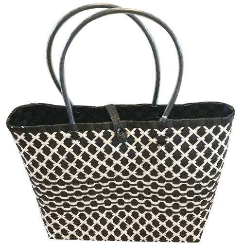 Monochrome Black and White Basket Tote Bag - choose your size or buy the set-Helping Hands Penan-Temples and Markets
