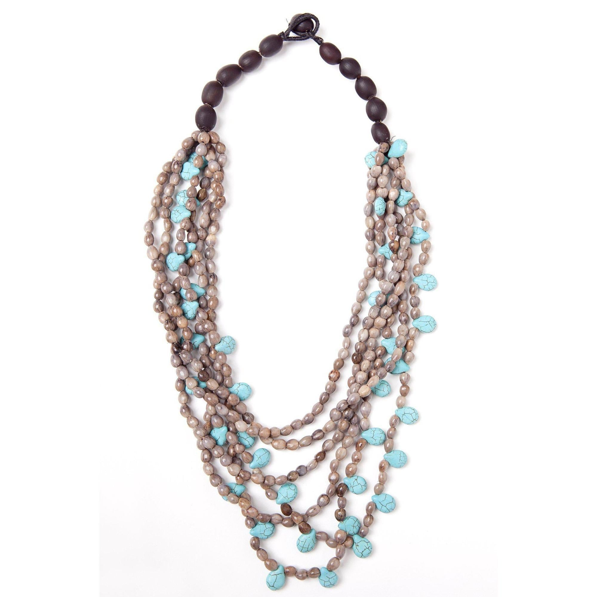 Multi Strand Brown Seed and Turquoise Necklace-Graines de Cambodge-Temples and Markets