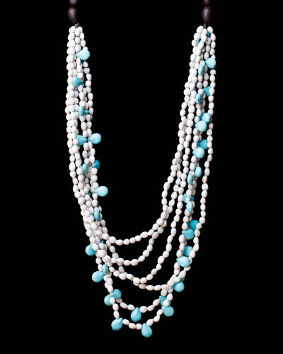 Multi White Seed and Turquoise Necklace-Graines de Cambodge-Temples and Markets