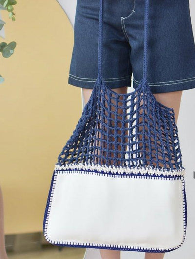 Navy and White Nautical Neoprene and Crochet Bag-Merrymetric Bags-Temples and Markets