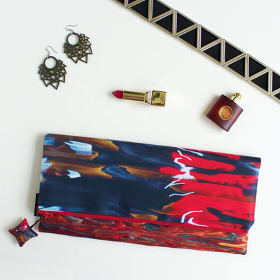 Night River Red Evening Clutch Bag-CUSHnART-Temples and Markets