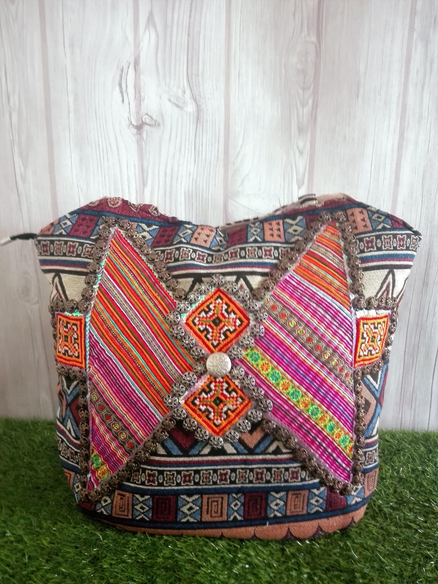 Patchwork, Embroidered and Beaded Tribal Tote Bag-Bags-Malee Bags-Temples and Markets