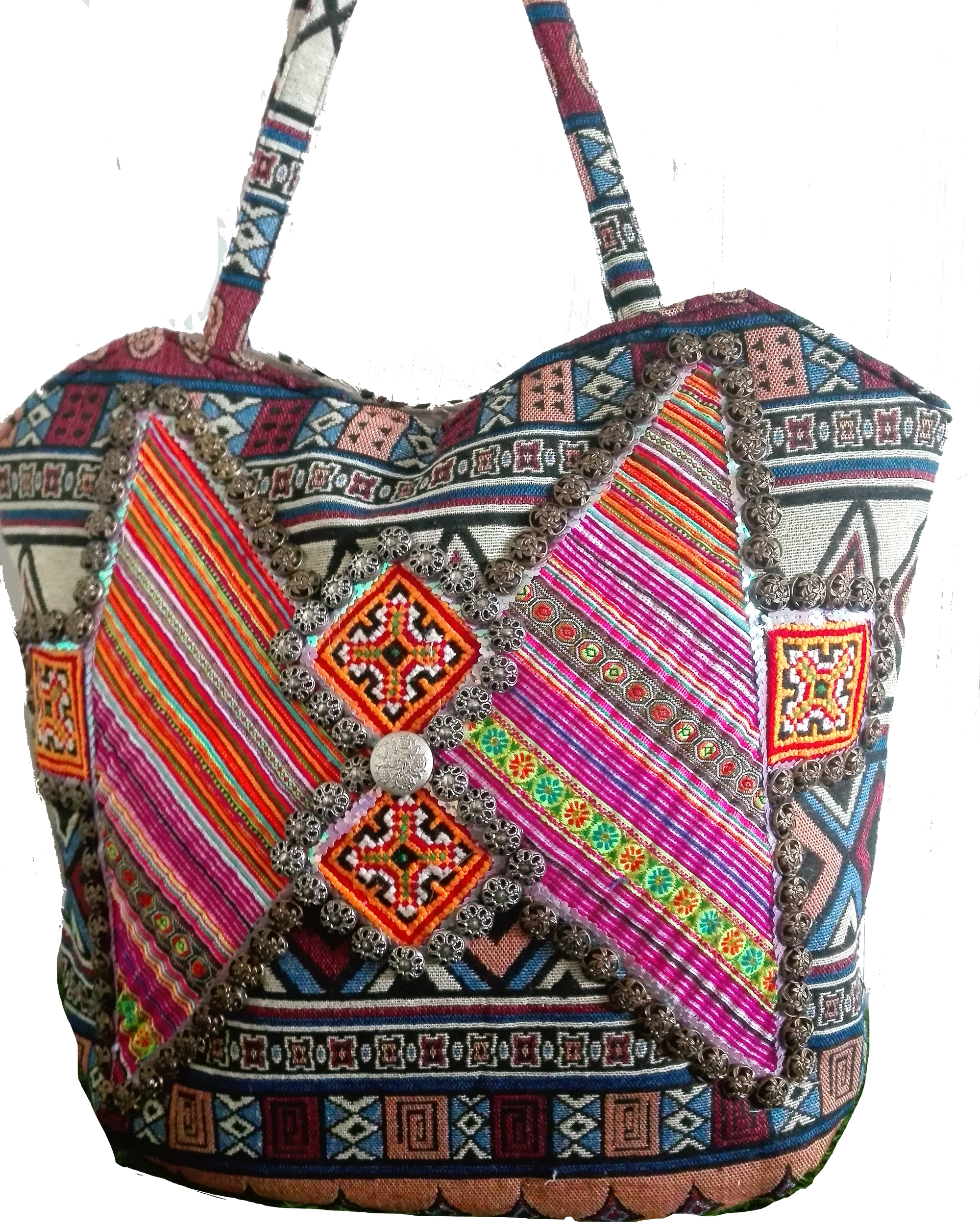 Patchwork, Embroidered and Beaded Tribal Tote Bag-Malee Bags-Temples and Markets