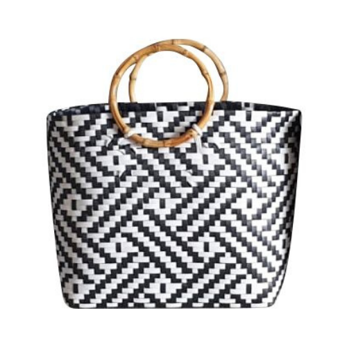 Black and White Handwoven Basket Bag with Round Wooden Handles