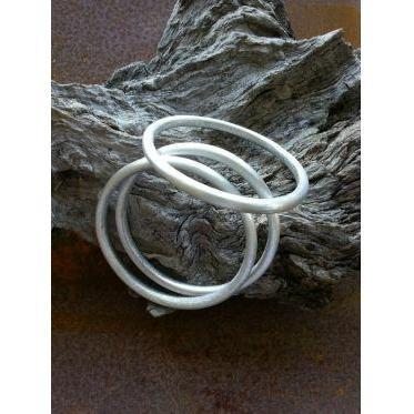 Plain Silver Bangle fashioned from recycled aluminium-LOVEbomb-Temples and Markets
