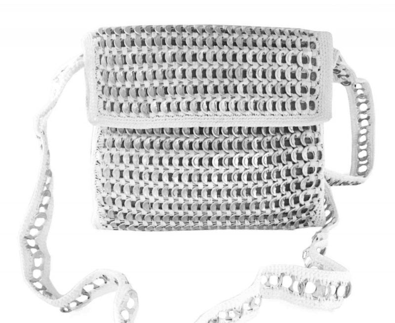 Solene M Messenger Silver and White Bag made from recycled Can Pull Tabs