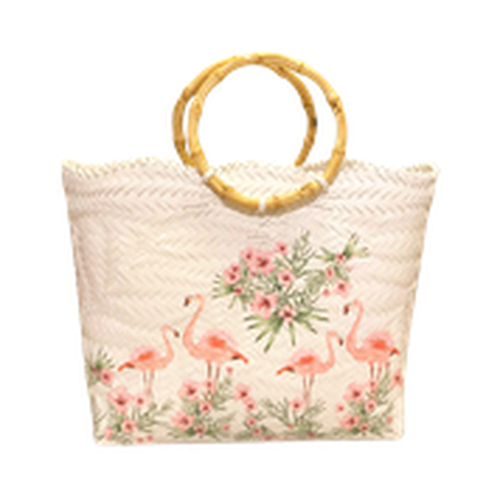 Pretty Flamingo Handwoven Basket Bag with Round Wooden Handles