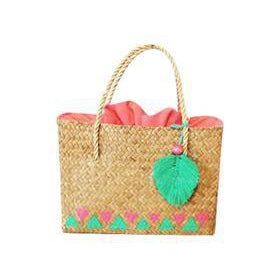 Pretty Painted Straw Boho Basket Bag made from Kajood-Bluestone-Temples and Markets