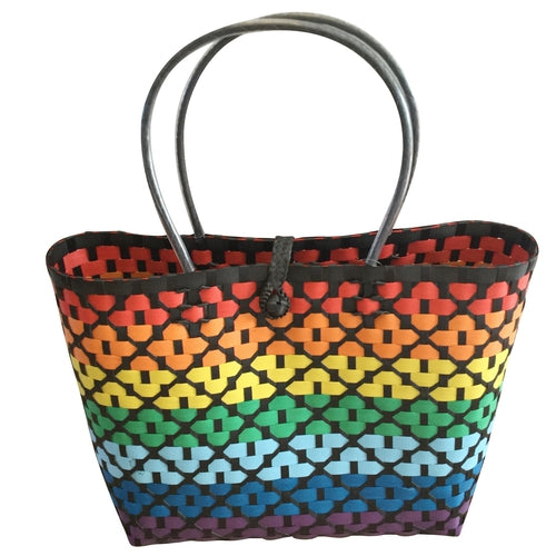 Rainbow and Black Striped Handwoven Basket Style Tote Bag - choose your size or buy the set-Helping Hands Penan-Temples and Markets