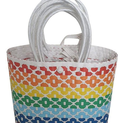 Rainbow and White Striped Handwoven Basket Style Tote Bag - choose your size or buy the set-Helping Hands Penan-Temples and Markets