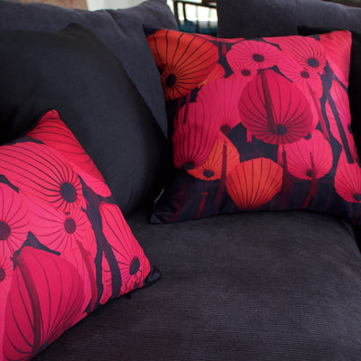 Red Lantern Cushion Cover-CUSHnART-Temples and Markets